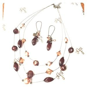 Jewelry - Brown bead Necklace and Earings